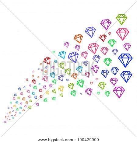 Source stream of diamond icons. Vector illustration style is flat bright multicolored iconic diamond symbols on a white background. Object fountain created from pictograms.