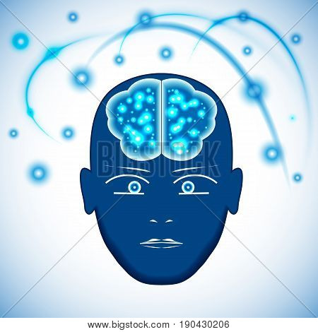 Head Brain with glowing with dots thoughts. Concept thinking human visualization of occurrence of thoughts.