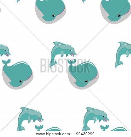 Vector flat illustration with dolphins whale. Cute cartoon animals. Seamless pattern with marine animals on white background.