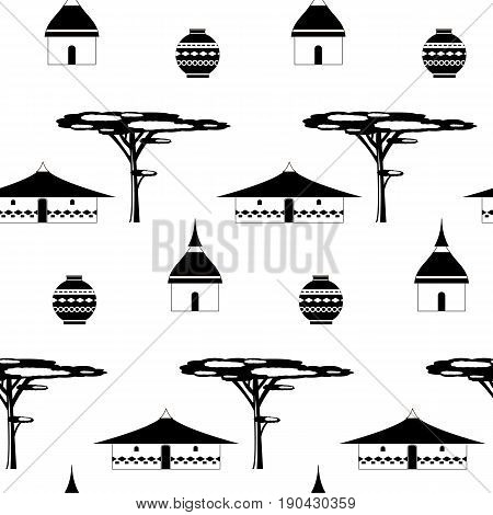 Huts in Africa. Vector flat illustration huts and jug. Idea for design. Print on fabric. Stylized image of African houses. Abstract illustration of african motifs.