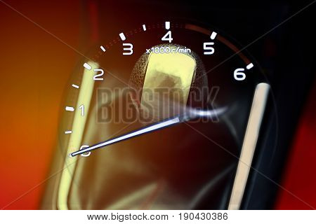 Double exposure. Gear stick for manual transmission and Rpm. gauge meter for speed driving in car. Automotive part concept.