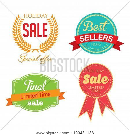 Holiday Sale Icon Collection with four images and different words concerning sales vector illustration