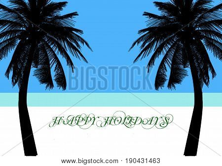 Happy Holidays with Palm Trees On A Tropical Beach