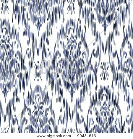 Ikat Ogee and Damascus ornament Seamless Background Pattern In the style of the Tapestry. Abstract background for textile design, wallpaper, surface textures
