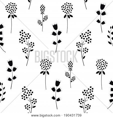Black white seamless vector photo free trial bigstock black and white seamless floral pattern cute spring flowers background campanula clover mightylinksfo