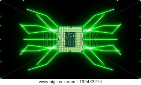 Seamlessly looping video of futuristic circuit board with moving green electrons with CPU.