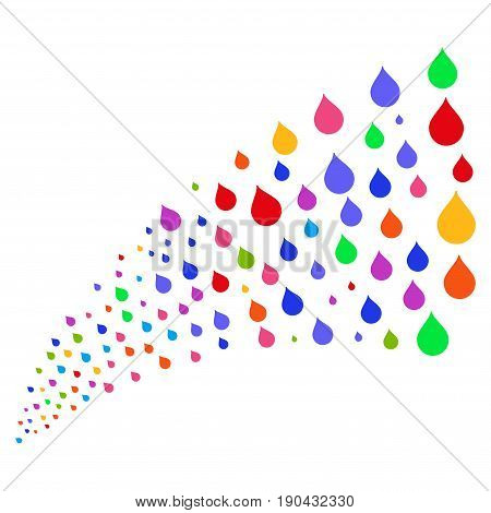 Fountain of drop icons. Vector illustration style is flat bright multicolored iconic drop symbols on a white background. Object fountain constructed from pictographs.