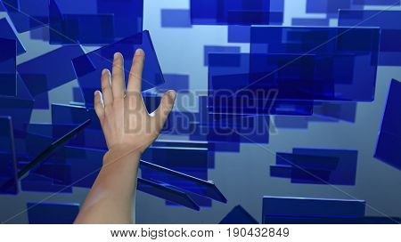 Hand touches flying screens, , 3d illustration