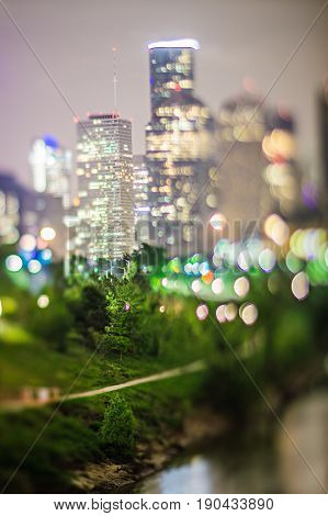 city of houston texas downtown skyline with tilt lens