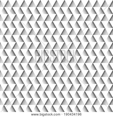 White geometric seamless pattern of triangles creating embossed relief on paper