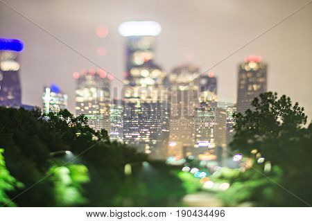 city of houston texas downtown skyline with tilt lens