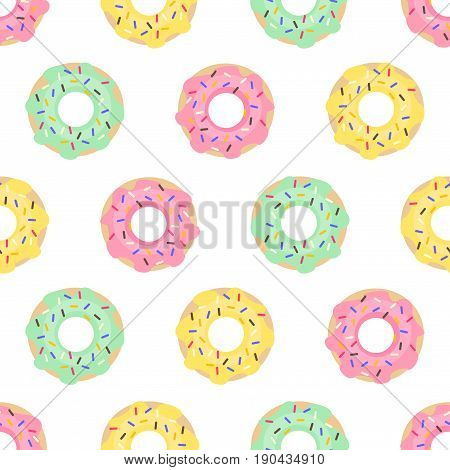 Donuts seamless pattern on white background. Cute sweet food baby background. Colorful design for textile, wallpaper, fabric, decor.