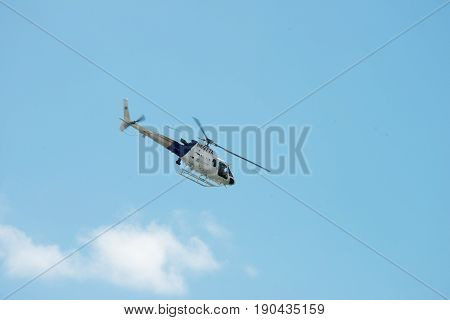 ATLANTIC CITY, NJ - AUGUST 17: US Customs and Border Protection Helicopter performing at Annual Atlantic City Air Show on August 17, 2016