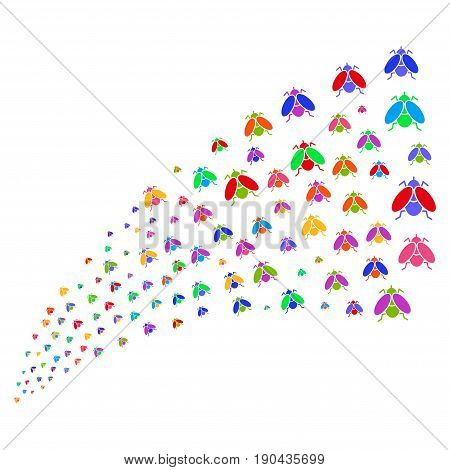 Source of fly insect symbols. Vector illustration style is flat bright multicolored iconic fly insect symbols on a white background. Object fountain organized from pictographs.