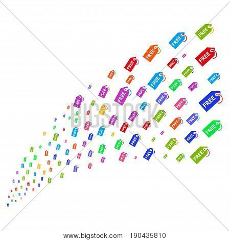 Source stream of free tag symbols. Vector illustration style is flat bright multicolored iconic free tag symbols on a white background. Object fountain organized from symbols.