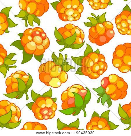 Vector Seamless Pattern With Cloudberries