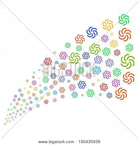 Fountain of galaxy symbols. Vector illustration style is flat bright multicolored iconic galaxy symbols on a white background. Object fountain combined from pictographs.