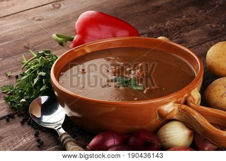 Tasty Hungarian Beef Goulash Soup Bograch Close-up On The Table And Ingredient