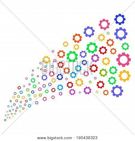 Fountain of gear icons. Vector illustration style is flat bright multicolored iconic gear symbols on a white background. Object fountain combined from pictographs.