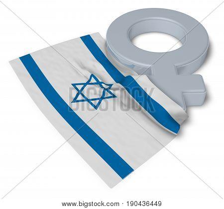 female symbol and flag of israel - 3d rendering