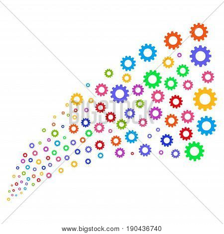 Fountain of gear symbols. Vector illustration style is flat bright multicolored iconic gear symbols on a white background. Object fountain organized from symbols.