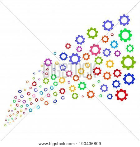 Fountain of gear symbols. Vector illustration style is flat bright multicolored iconic gear symbols on a white background. Object fountain done from icons.
