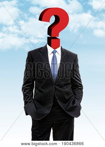 Business Man With Question Mark Instead Of Head