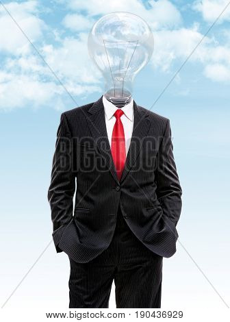 Business Man With Light Bulb Instead Of Head