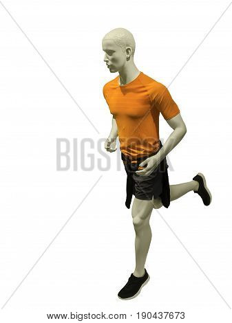 Running male mannequin isolated on white background. No brand names or copyright objects.