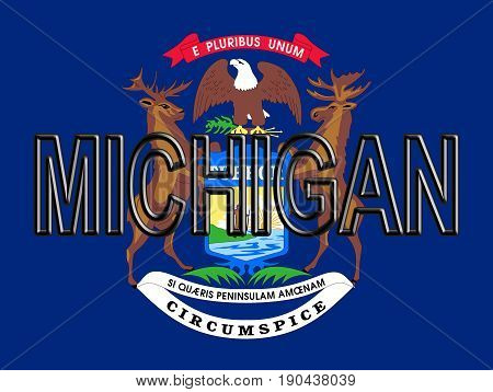 Flag Of Michigan Word