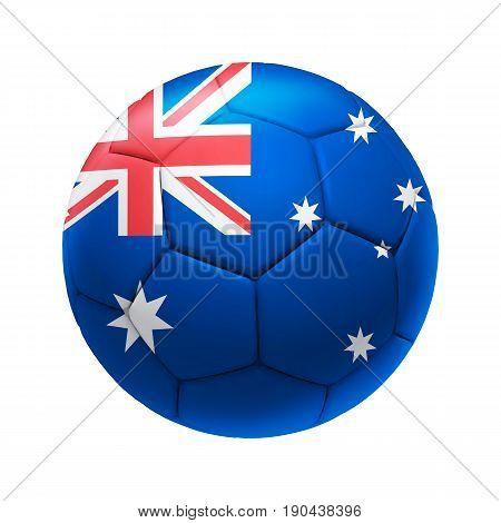 3D Soccer Ball With Australia Team Flag.