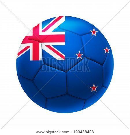 3D Soccer Ball With New Zealand Team Flag.