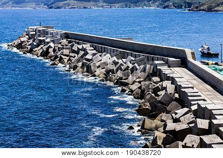 Seawall in a sunny day in Northern Spain