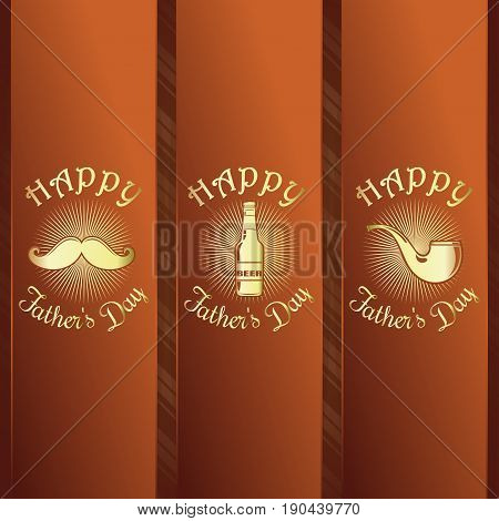Greeting card set for Fathers Day celebration. Happy Fathers Day. Design elements collection and graceful gold lettering on a retro background. Vector illustration