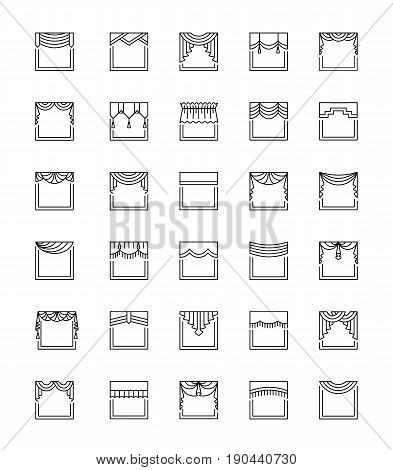 Vector line icons with valances and pelmets. Window top treatments. Different styles of draperies and blinds. Swag fan straight scalloped pleat. Elements for interior decoration.