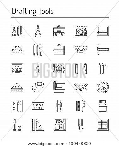 Drafting tools icon collection. Engineering drawing. Line icons set. Drafting kit ruler drawing board protractor tape mechanical pencil ink divider compass. Draftsman toolkit. Vector illustration.