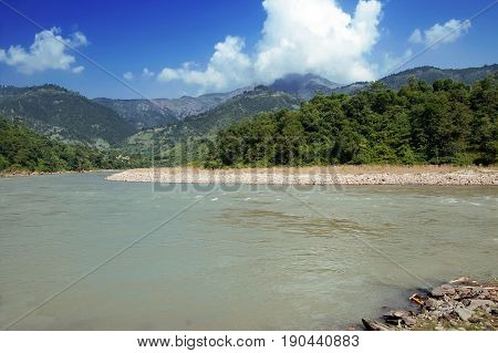 View of river in Nepal in the autumn, Asia