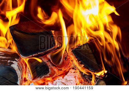 A warm fire in a chimney fire wood fireplace