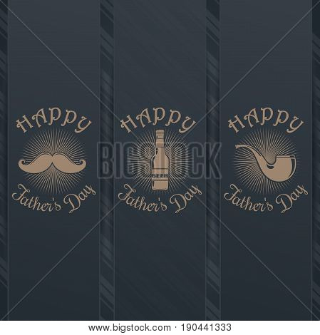 Fathers Day card design collection. Pipe, mustache, glasses, beer bottle and greeting inscription - Happy Fathers Day. Graceful lettering on a gray background. Vector illustration