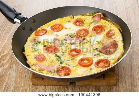 Fried Eggs With Sausage, Tomatoes, Greens In Frying Pan