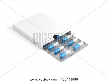 Open medicine packet on white background. 3D illustration
