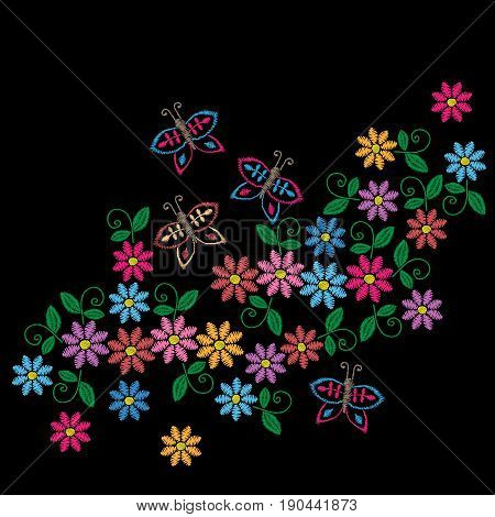 Embroidery stitches imitation colorful pattern with folk flower. Fashion embroidery on black background. Embroidery flower vector.