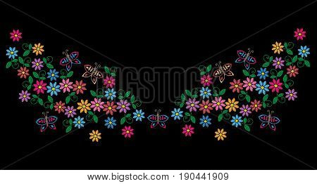 Embroidery stitches imitation neck line pattern with colorful folk flower. Fashion embroidery on black background. Embroidery flower vector.
