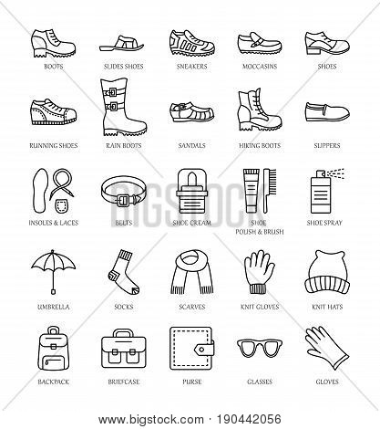Men's shoes & accessories. Vector line icon set. Various styles of footwear. Boots sneakers sandals slippers. Bag glove umbrella hat scarf sock. Shoe care products: polish cream brush.