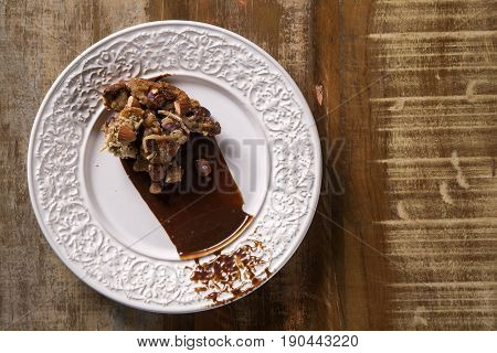 Dessert Panforte With Cream Of Coffee
