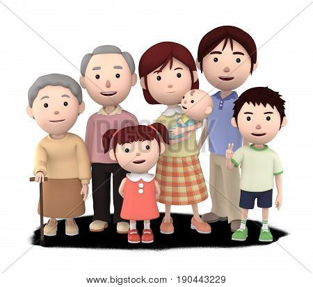 3D illustration, big family portrait of 3 generations. Mother and father, grandpa, grandma,daughter and son,  with baby happiness lifestyle.