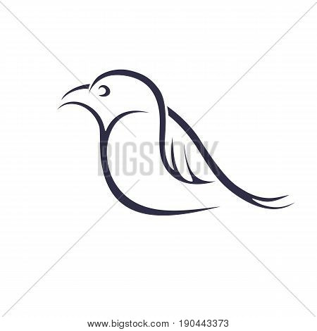 Birdie on a white background. Contour of a bird. Tattoo. Vector illustration