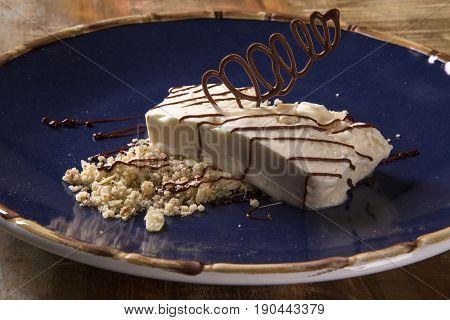 Freddo dessert with torrone. Delicious gourmet dessert