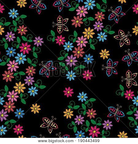 Seamless pattern with embroidery stitches imitation colorful flower. Folk flower embroidery pattern for printing on fabric paper for scrapbook gift wrap.