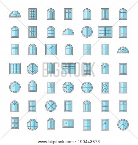Windows. Architecture elements. Flat colored icons. Traditional french arch and round window frames